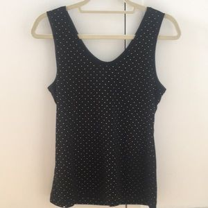 Black tank top with 3d gold polka dots